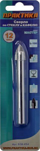Сверло по стеклу ПРАКТИКА, 12x100 мм