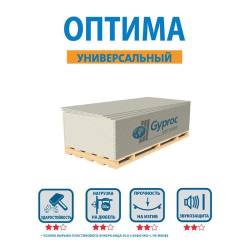 Гипсокартон Оптима GYPROC, 1200х2500х12,5 мм