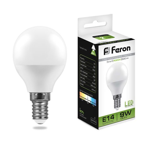 Лампа светодиодная Feron LB-550 Шарик E14 9W 4000K