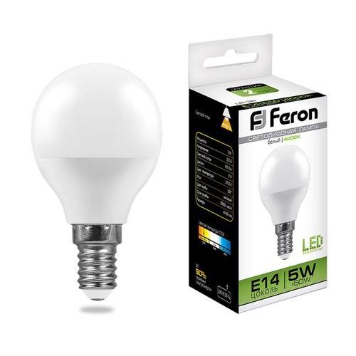 Лампа светодиодная Feron LB-38 Шарик E14 5W 4000K