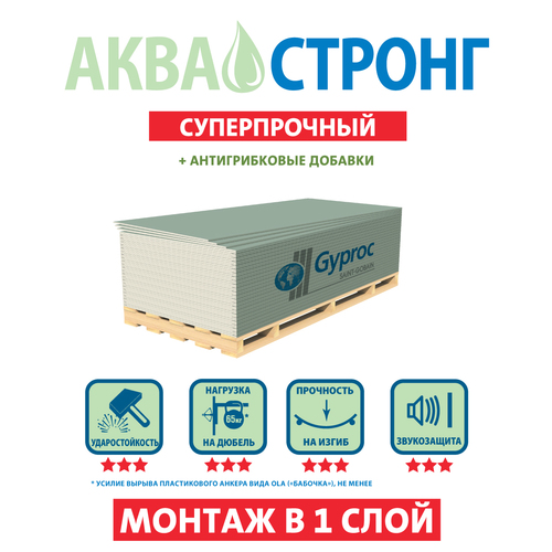 Гипсокартон влагостойкий  Аква Стронг GYPROC, 1200х2500х15 мм
