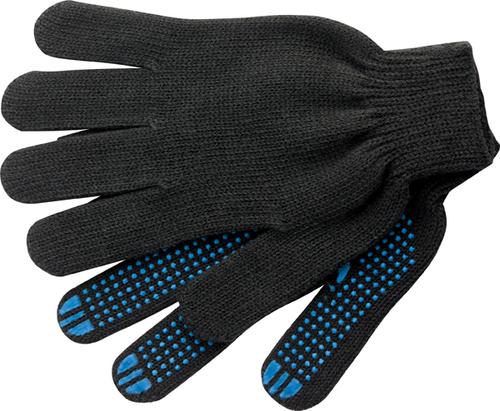 Перчатки х/б 7,5 класс с ПВХ, чёрные